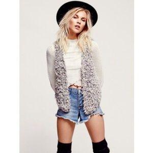 BLACK! Free People faux fur sweater knit vest